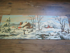 """2 Vtg Winter Snow BARN FARM Mts. Landscape Paint By Number 14x10"""" PBN Finished"""
