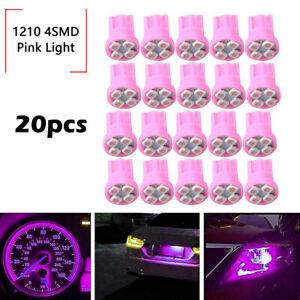 20x Pink T10 W5W 168 194 4-SMD LED Dash Instrument Cluster Gauge Light Bulb