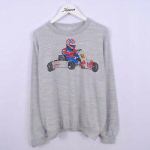 Vintage 80s Go Kart Graphic Print Sweatshirt Grey Sweater Size S Retro