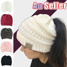 b3c16fb85c90b Women Tail Messy Soft Beanie Bun Hat Ponytail Stretchy Knitted Crochet  Skull Ca
