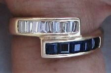 NOW REDUCED FANTASTIC 18K SOLID Y/GOLD 1.00CT SAPPHIRE AND DIAMOND RING   SIZE 6