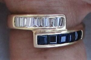 FANTASTIC 18K SOLID YELLOW GOLD 1CT SAPPHIRE AND DIAMOND RING SIZE 6