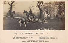 Hunting Men on Horseback Dogs Real Photo Antique Postcard J58324