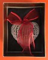 Spun Glass Christmas Tree Ornament Heart-Shaped RED Ribbon, NIB