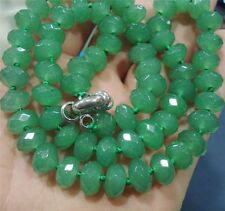 """Faceted 5x8mm Green Emerald Roundel Beads Necklace 18"""""""