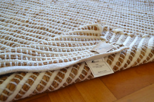 Large Jute Rug White CHINDI Cotton Stripe Handmade Knotted Dhurrie 180x230cm 6x8