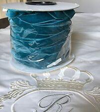 Cinta de terciopelo estirable Cerceta Azul 16mm hechas en Italia Elástico