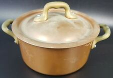 Unused Mauviel Copper Casserole Pan With Brass Handles, 12cm Wide, With Lid