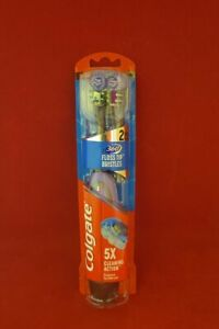 Colgate 360 Floss Tipp Battery Powered Toothbrush + 2 brush Heads - PURPLE