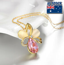 Flower 18K Gold Filled Pendant Made W/Opal and crystal Stone Charm Necklace