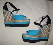 """PLENTY by TRACY REESE """"Tataiana"""" Turquoise Wedge Leather Sandals Sz 6/ 36.5M"""
