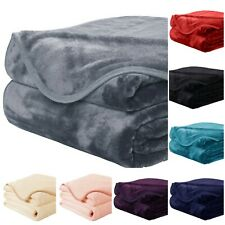 LARGE LUXURY FAUX FUR THROW SOFA BED MINK SOFT WARM BLANKET - DOUBLE & KING SIZE