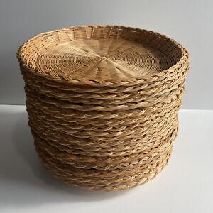 "Set of 20 Vintage Woven Rattan Paper Plate Holders 10""  BBQ Picnics Basket Walls"