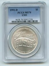 1991 D $1 USO Silver Commemorative Dollar PCGS MS70