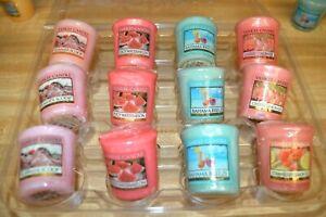 Yankee Candle Mixed FRUITY scents Rare HTF Votive Mini 12pc YC PLASTIC STORAGE