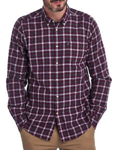 $119 New Mens Barbour Gingham 16 Tailored Fit Merlot Soft Cotton Shirt L