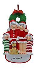 Christmas Pajama Family Of 4 With Dog Personalized Christmas Tree Ornament