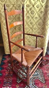 Antique Early American Ladder Back Rush Seat Rocking Arm Chair ca 1800-1830