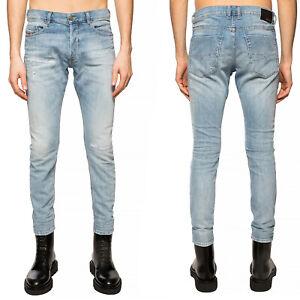 Diesel Herren Slim Fit Röhren Stretch Jeans Hell Blau Tepphar X 0095V  W36 L32