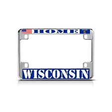 WISCONSIN HOME Chrome Motorcycle Bike Heavy Metal License Plate Frame Tag Border