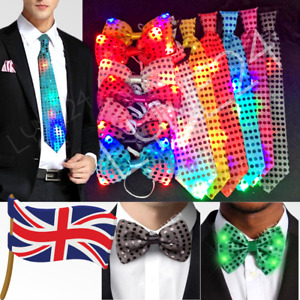 LIGHT UP LED PARTY SEQUIN NECK TIE BOW WEDDING FUN WITH 3 FLASHING LIGHT MODES