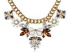 Multicoloured Bead Rhinestone Accented Necklace Lady Royal Inspired Golden Tone