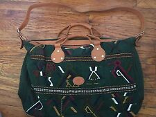 vtg leather trim hand made Ethnic Guatemalan Tapestry Travel Bag Duffle Bag