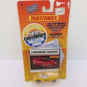 Matchbox 1989 Diecast Lamborghini Countach Toy Car + Car/Driver Collector Cards