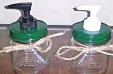Mason Jar Soap Dispenser Dark Green Lid Plastic Pump Country Decor Jar Optional