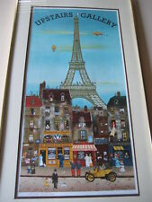 Michel Delacroix Upstairs Gallery Eiffel Tower Original Lithograph Print, Signed