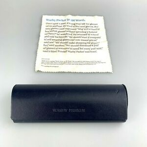 Warby Parker Eyeglasses Case Only Blue Clamshell Hardcase Eyewear + Cloth