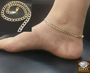 10k Yellow Gold Women anklet Cuban link Diamond Cut  Rope