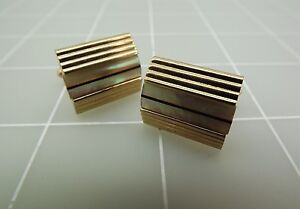 Vintage Gold Tone SWANK Mother Of Pearl Inlay Cufflinks 15.0Grams