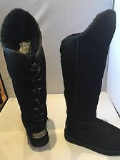 Australia Luxe Dita Extra Tall Black Suede and Shearling Boots - Size 36, UK 3