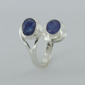 Size 8 1/2 - Size 8.5 Genuine Natural Blue SAPPHIRE Ring 925 STERLING SILVER #8