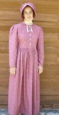 Ladies Prairie Pioneer Costume Dress & bonnet set dark red calico size 18