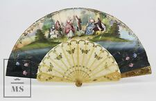 Antique 19th Century Fan - Lithographed Leaves, Carved & Golden Celluloid Sticks