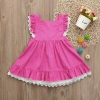 NWT Girl size 4 ADORABLE PINK Ruffle & Eyelet Lace Pinafore Dress Outfit 4T