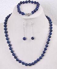 8mm Egyptian Lapis Lazuli Round Beads Gemstone Necklace Bracelet Earrings set