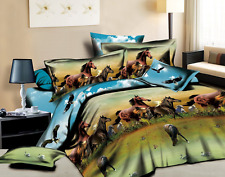 Bednlinens Luxury 4 Piece Sheet Set 3d wild Horse and Eagle Print King size (HOR