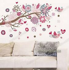 LARGE Pink Blossom Flower Tree & Birds Wall Stickers Art Decal Paper Home Decor