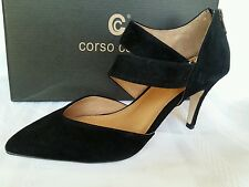Corso Como Carroll Black Dress Sandal Heel Pump Kid Suede Leather Gel Padding 8M