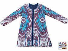 Vintage uzbek traditional women's jacket coat handmade from cotton ikat fabric