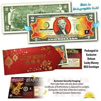 2020 Chinese New Year U.S. Genuine $2 Bill YEAR OF THE RAT Gold Hologram - Red