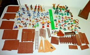 timpo toys wild west cowboys indians 7th cavilry soldiers horses fort teepee