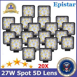 20X 27W 5D Spot Beam LED Work Light Lamp 12V 24V Hummer Ford Ranger Sierra ATV