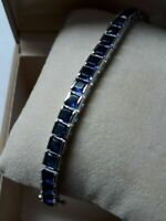 "Vintage 7ct Princess Blue Sapphire 14k White Gold Over Tennis Bracelet 7"""