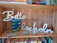 NEU Holz Schriftzug Bitte lächeln 2-teiliges Set, 78 x 12 cm weiß aus MDF