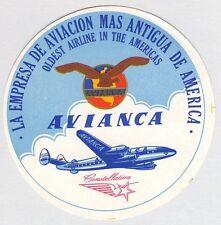 VINTAGE ORIGINAL COLUMBIA AVIANCA CONSTELLATION AIRLINE LUGGAGE LABEL