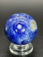 Large Antique Handmade Glazed Clay Blue Bennington Marble Shooter 0.944""